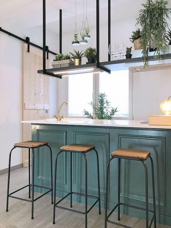 decoralinks | cocina verde estilo industrial